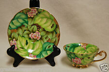 Stunning Occupied Japan Porcelain Tea Cup and Saucer Pink Flowers & Green Leaves