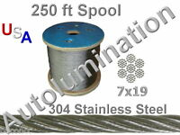 """250 Ft SS 304 OD 4MM  7x19 Stainless Steel Wire Rope Cable 5/32"""" Diameter"""