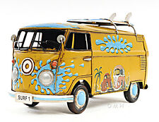 "1967 Volkswagen VW Bus Tin Metal Car Model 12"" with Surf Boards Automotive Decor"