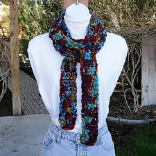 Extra Long Skinny Scarf Colorful Red Purple Gold Blue Handmade Soft Crochet Knit
