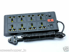 Extension Cord Board with 4 yard wire 8 Socket + 2 Switch Power Strip - Black