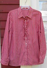 "Unnamed Red/White Striped Long Sleeved Ruffled Button Down Shirt 1X (49"") EUC"