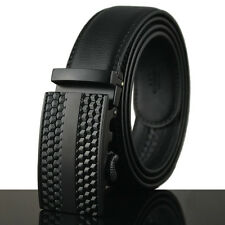New Men Cool Black Auto Lock Buckle Waist Strap Business Genuine Leather Belt