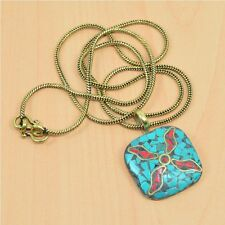 925 TIBETAN SILVER RED CORAL,TURQUOISE PENDANT & BRASS CHAIN NECKLACE D06299