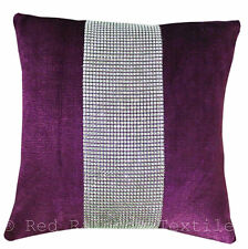Purple & Silver Diamanté Sparkle Bling Velvet Chenille 17 inch Cushion Cover