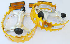 """Old school BMX XC-II VP-747 bear trap pedals 1/2"""" (FOR ONE PIECE CRANKS) GOLD"""