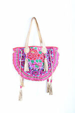 Sweet Tote Bag Fabric Embroidered HMONG Gold Leather Strap Hill Tribe Thailand