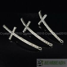 10Pcs Skiny Curved Side Ways Crystal Rhinestones Cross Bracelet Connector Bead