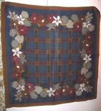 True Vtg 1977-89 Perry Ellis Wool Twill Scarf Blue Teal Rust Gray Floral Plaid