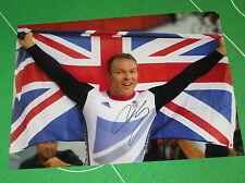 Sir Chris Hoy Signed Giant London 2012 Olympic Velodrome Celebration Photograph