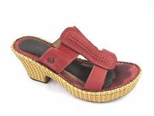 Born 8M 39 red leather straw woven platforms womens ladies sandals shoes