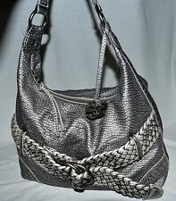 Red by Marc Ecko Gray Faux Leather Shoulder Bag with Braided Belt Design