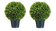 "2 Artificial 18"" Plastic Italia Bay Leaf Ball Topiary In Outdoor Silk Plant"