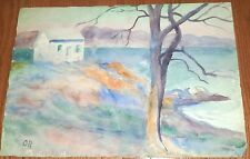Water,House & Tree Watercolor Painting-14 x 20 Circa 1950s-Otto Rothenburgh