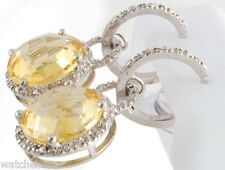 Sterling Silver Women's Yellow Citrine Round Diamond Earrings