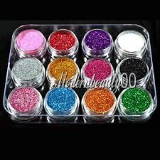 12 PCS MIX DI COLORI GLITTER POLVERE SET per Nail Art ACRILICO TIPS DECORAZIONE