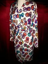 HERMES FRANCE VINTAGE 90'S SILK COLORFUL MOTIF SURPLICE DRESS IT 38 US 6 S
