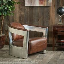 Coupe38 Modern Design Top Grain Leather Accent Club Chair in Aluminum Sheath