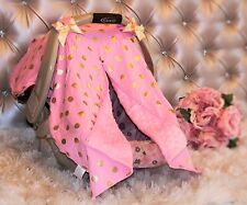 Baby Infant  Pink Gold Polka Dot Car Seat Canopy  NEW
