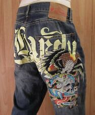 AUTHENTIC ED HARDY THE GODFATHER PAINTED POCKETS MEN JEANS SZ 40 X 32 VIC-THOR1