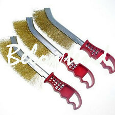 Wire Hand Brush Set Nylon Brass Steel Brushes Clean Surface