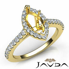 Marquise Diamond Engagement 14k Yellow Gold Semi Mount Prong Setting Ring 0.5Ct