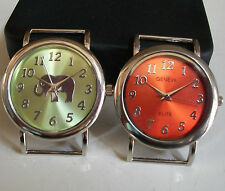 SET OF 2 SILVER FINISH ORANGE/GREEN WATCH FACES FOR BEADING,RIBBON OR OTHER USE