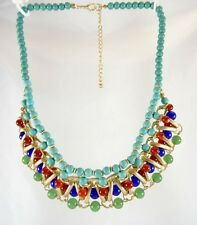 New Glass & Semi Precious Bead Turquoise Jade Blue Colored Necklace #N2327