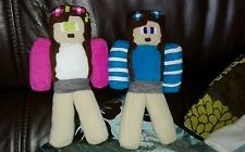 Little Carly and Little  Kelly Minecraft handcrafted soft fleece plush11 inch