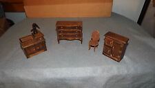 Vintage Wooden Doll House Furniture Lot of 4 Pieces Dresser ~ Chair & More O124A