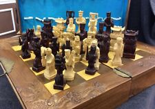 VINTAGE CHINESE HAND CARVED CHESS SET EXCELLENT CONDITION 1950-s