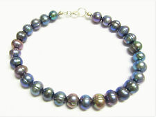 Sterling Silver Bracelet with Beautiful Freshwater Rainbow Pearls 7.5 inch