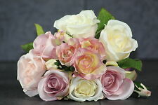 10 x Bouquet Bunch Posy Artificial Vintage Roses and Soft Pinks Wedding Flowers
