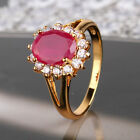 Charming 24k gold filled luxury design ruby amazing woman good ring Sz5-Sz9