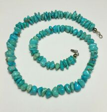 J5478 VINTAGE NAVAJO STERLING SILVER TURQUOISE NECKLACE 20""