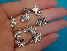 10pc 4 leaf clover flower charms tibet silver antique pendant wholesale bulk UK