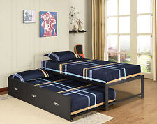 Twin Size Day Bed (Daybed) Frame With Roll Out Trundle (Black) ~New~