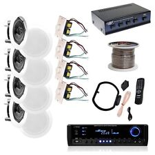 """NEW Pyle KTHSP590 4 150W 5.25"""" In-Wall/Ceiling Speakers  300W Receiver w/ Wires"""