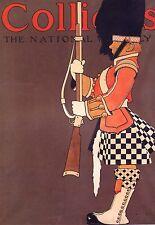 """MAXFIELD PARRISH BOOK PRINT """"SCOTTISH SOLDIER"""" BEARSKIN HAT CHECKERED KILT"""