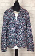WOMENS VINTAGE RETRO 90S BRIGHT FLORAL PATTERN OVERSIZED BLAZER JACKET FESTIVAL