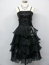 Cherlone Black Prom Ball Evening Bridesmaid Knee Length Formal Dress Size 12-14