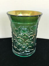 Small Pressed Rose Pattern Green Iridescent Carnival Glass Tumbler Cup