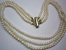 Perlenkette Süßwasser 3-rhg. weiß mit Magnetschließe
