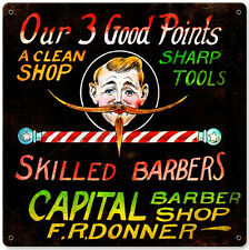 Vintage Capital Barber Shop F.R. Donner Metal Sign Bathroom Man Cave Decor BS019