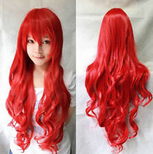New Fashion Womens Wigs Red Long Curly Anime Cosplay Party Wig 80cm/32""