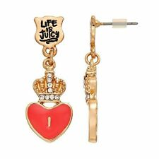 NWT Juicy Couture Gold Tone Shield , Crown , and Dangle Pink Heart Earrings