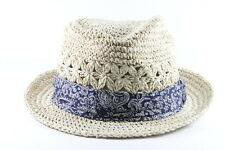 BEIGE STRAW SUMMER INSPIRED DERBY/BOWLER HAT NEW UNQIUE (HT24)
