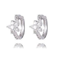 1pair 925 Sterling Silver Attractive Flower Cute cubic zirconia Hoop Earrings