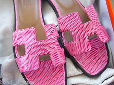 RARE NEW Hermes Oran H Sandals Slippers 38.5 8.5 Fuchsia PINK Lizard Flats Shoes