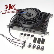 "Universal 15 Row Engine Transmission AN-10AN Oil Cooler+7""Electric Fan Kit BLACK"